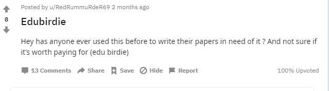 Reddit about EduBirdie